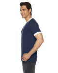 Navy/white MADE IN USA Unisex Poly-Cotton Short-Sleeve Ringer T-Shirt as seen from the sleeveleft