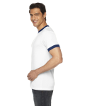White/navy MADE IN USA Unisex Poly-Cotton Short-Sleeve Ringer T-Shirt as seen from the sleeveleft