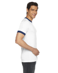 White/navy MADE IN USA Unisex Poly-Cotton Short-Sleeve Ringer T-Shirt as seen from the sleeveright