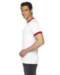 White/red MADE IN USA Unisex Poly-Cotton Short-Sleeve Ringer T-Shirt as seen from the sleeveleft