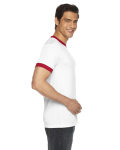 White/red MADE IN USA Unisex Poly-Cotton Short-Sleeve Ringer T-Shirt as seen from the sleeveright
