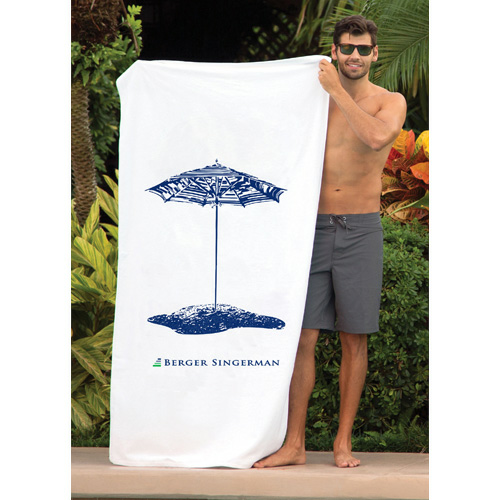 Printed White Beach Towel