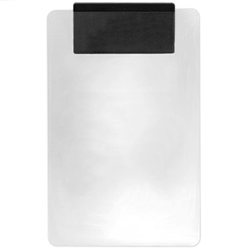 Clear/black Transparent Clipboard w/ Jumbo Clip as seen from the front