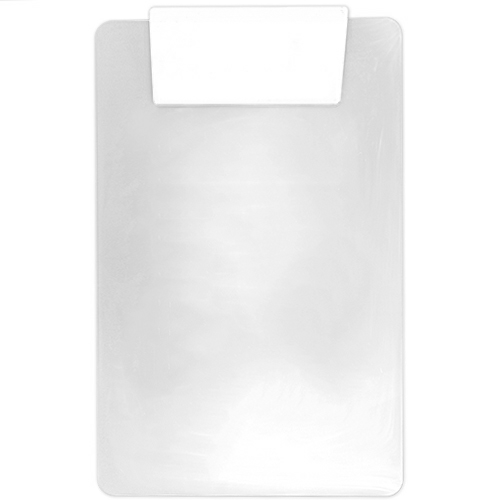 Clear/white Transparent Clipboard w/ Jumbo Clip as seen from the front