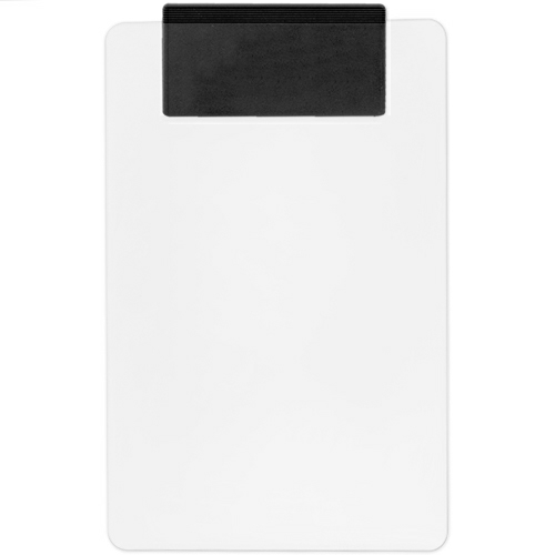White/black Transparent Clipboard w/ Jumbo Clip as seen from the front