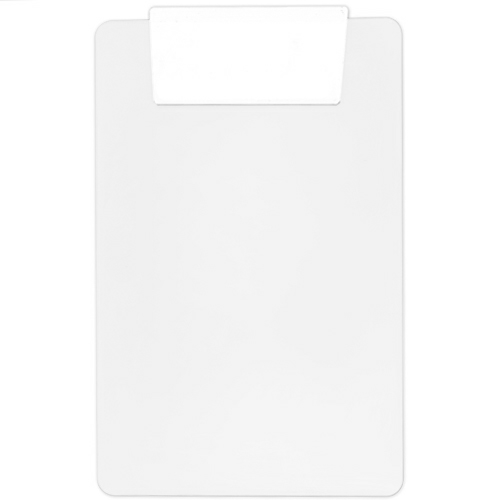 White/white Transparent Clipboard w/ Jumbo Clip as seen from the front