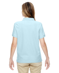 Crystal Blue Ladies' Pima Pique Short-Sleeve Y-Collar Polo as seen from the back