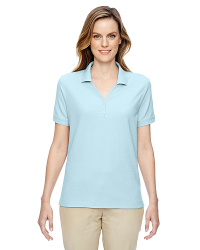 Crystal Blue Ladies' Pima Pique Short-Sleeve Y-Collar Polo as seen from the front