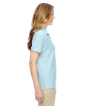 Crystal Blue Ladies' Pima Pique Short-Sleeve Y-Collar Polo as seen from the sleeveleft