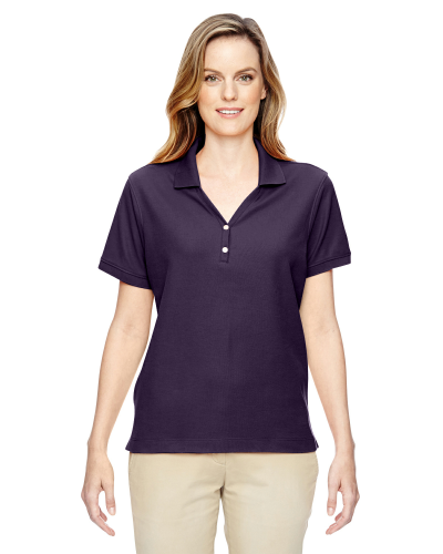Deep Purple Ladies' Pima Pique Short-Sleeve Y-Collar Polo as seen from the front