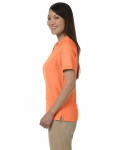 Tangerine Ladies' Pima Pique Short-Sleeve Y-Collar Polo as seen from the sleeveright