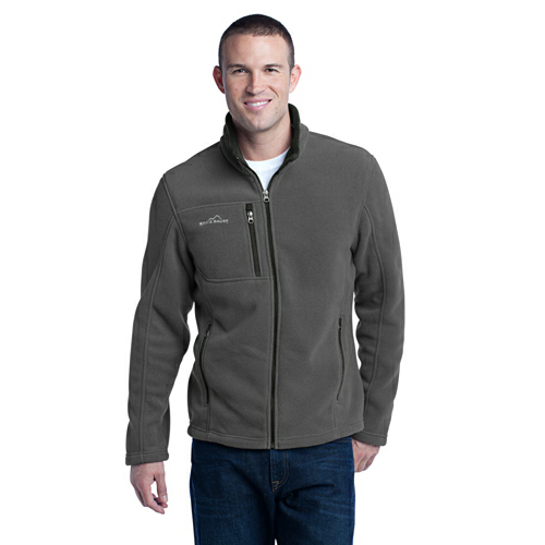 Grey Steel Eddie Bauer Full-Zip Fleece Jacket as seen from the front