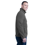 Grey Steel Eddie Bauer Full-Zip Fleece Jacket as seen from the sleeveright