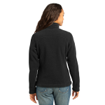 Black Eddie Bauer Ladies Full-Zip Fleece Jacket as seen from the back