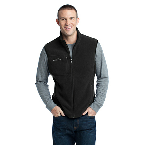 Black Eddie Bauer Fleece Vest as seen from the front