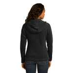 Black Eddie Bauer Ladies Hooded Full-Zip Fleece Jacket as seen from the back
