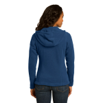 Deep Sea Blue Eddie Bauer Ladies Hooded Full-Zip Fleece Jacket as seen from the back