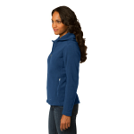 Deep Sea Blue Eddie Bauer Ladies Hooded Full-Zip Fleece Jacket as seen from the sleeveright