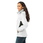 White Eddie Bauer Ladies Rain Jacket as seen from the sleeveright