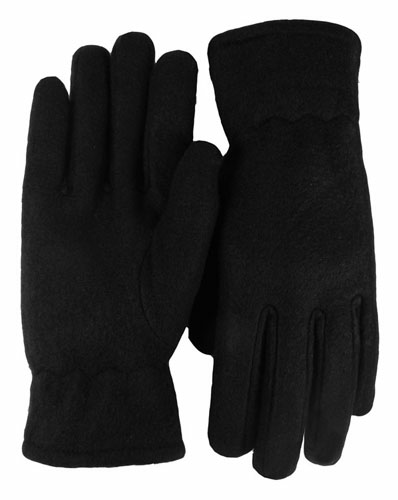 Black Economy Fleece Gloves as seen from the front