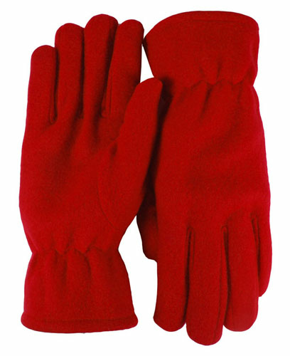 Red Economy Fleece Gloves as seen from the front