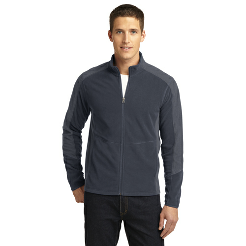 Batgy Pearl Gy Port Authority Colorblock Microfleece Jacket as seen from the front