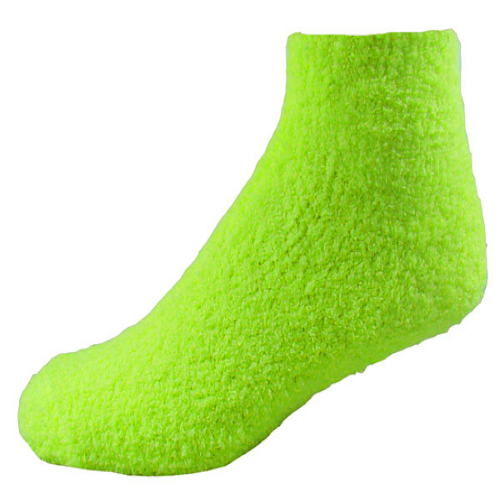 Fluorescent Yellow-green Fuzzy Feet as seen from the front