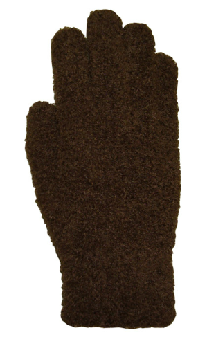 Brown Fuzzy Gloves as seen from the front