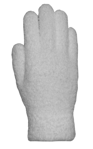 White Fuzzy Gloves as seen from the front