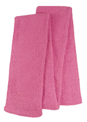 Pink Fuzzy Scarves as seen from the front