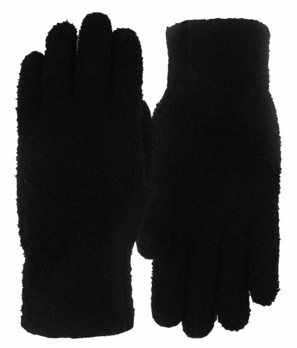 Black Fuzzy Texting-Touch Screen Gloves as seen from the front