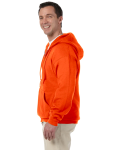 Safety Orange DryBlend™ 9.3 oz., 50/50 Full-Zip Hood as seen from the sleeveright