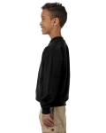 Black Youth 8 oz. Heavy Blend 50/50 Fleece Crew as seen from the sleeveright