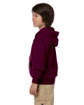Maroon Youth 8 oz. Heavy Blend 50/50 Full-Zip Hood as seen from the sleeveright