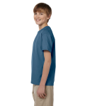 Indigo Blue Youth Premium Ultra Cotton T as seen from the sleeveright