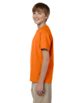 Safety Orange Youth Premium Ultra Cotton T as seen from the sleeveright