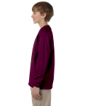 Maroon Youth 6.1 oz. Ultra Cotton® Long-Sleeve T-Shirt as seen from the sleeveright
