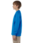Sapphire Youth 6.1 oz. Ultra Cotton® Long-Sleeve T-Shirt as seen from the sleeveright