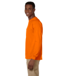 Safety Orange Ultra Cotton® 6 oz. Long-Sleeve Pocket T-Shirt as seen from the sleeveright