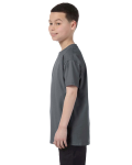 Charcoal Classic Cotton  Youth T as seen from the sleeveright