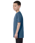 Indigo Blue Classic Cotton  Youth T as seen from the sleeveright