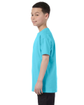 Sky Classic Cotton  Youth T as seen from the sleeveright