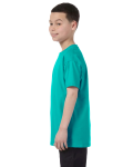 Tropical Blue Classic Cotton  Youth T as seen from the sleeveright