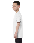 White Classic Cotton  Youth T as seen from the sleeveright