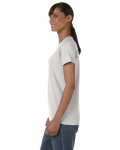 Ash Grey Classic Cotton Ladies' Missy Fit T-Shirt as seen from the sleeveright