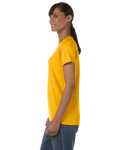 Gold Classic Cotton Ladies' Missy Fit T-Shirt as seen from the sleeveright