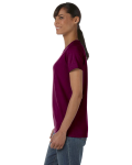 Maroon Classic Cotton Ladies' Missy Fit T-Shirt as seen from the sleeveright