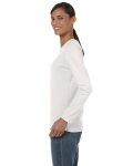 Ash Grey Classic Cotton Ladies' Missy Fit Long-Sleeve T as seen from the sleeveright