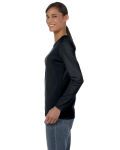 Black Classic Cotton Ladies' Missy Fit Long-Sleeve T as seen from the sleeveright
