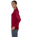 Cardinal Red Classic Cotton Ladies' Missy Fit Long-Sleeve T as seen from the sleeveright